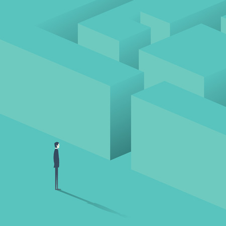 Businessman standing in front of maze. Business concept of strategy, solution finding. Eps10 vector illustration.
