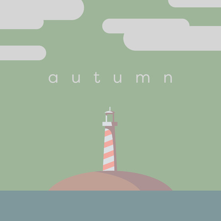 autumn colors: Lighthouse on the island vector illustration. Autumn or fall colors palette. Eps10 vector illustration.