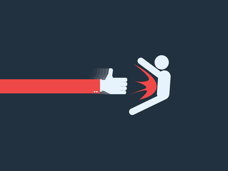 cynical: Thumb up as a symbol of social networks punching person. Satirical concept of modern internet. Eps10 vector illustration.