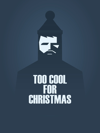cynical: Christmas satirical poster with cool hipster face and message. Eps10 vector illustration.