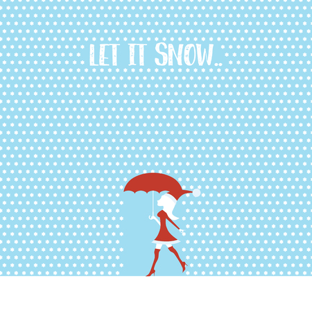 Sexy woman in santa claus costume or dress walking in snowing winter wonderland. Eps10 vector illustration.