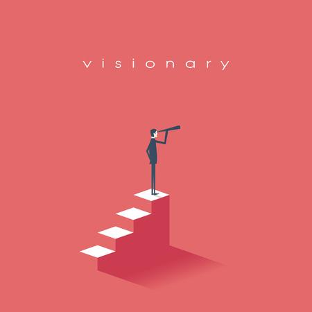 concepto de la visión en los negocios con el icono del vector de hombre de negocios y un telescopio, monocular. Símbolo de liderazgo, estrategia, misión, objetivos. eps10 ilustración vectorial. Ilustración de vector