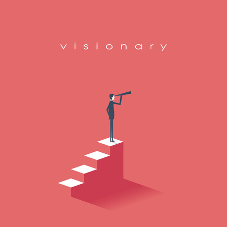 vision concept: Vision concept in business with vector icon of businessman and telescope, monocular. Symbol leadership, strategy, mission, objectives. Eps10 vector illustration.