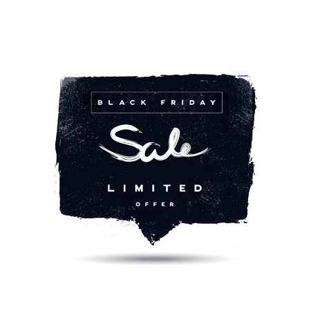 fashion shopping: Black Friday sale promotional vector banner or poster with handwritten text. Watercolor grunge worn old style flyer. Eps10 vector illustration Illustration