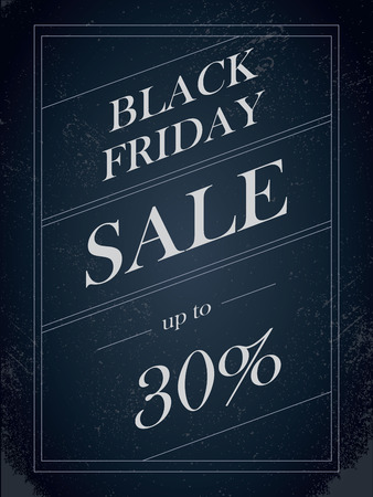 percentual: Black Friday Sale vector banner with percentual discount offer in vintage paper decorative artistic style. Eps10 vector illustration.
