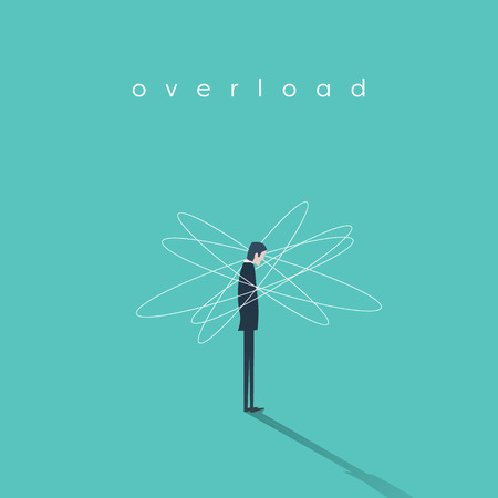 Work or job overload and stress vector concept with businessman symbol. Frustration and depression sign. Eps10 vector illustration.