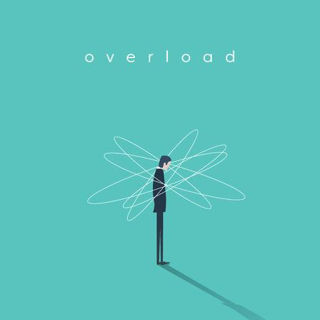 overwhelmed: Work or job overload and stress vector concept with businessman symbol. Frustration and depression sign. Eps10 vector illustration.