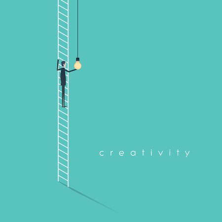 creativity concept: Creativity business concept with businessman standing on ladder screwing in lightbulb. Eps10 vector illustration.