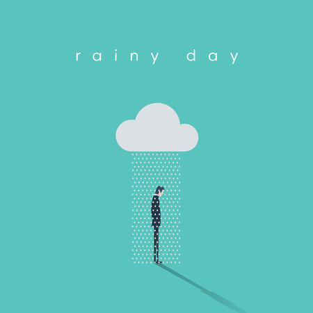 Business rainy day vector concept with businessman standing under cloud and rain. Eps10 vector illustration. Illustration