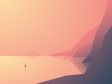 high sea: Ocean coast vector illustration with sea view and high rock cliffs. Sailboat or yacht on the water. Nature outdoor background. Eps10 vector illustration. Illustration