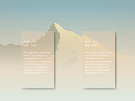 morning sunrise: Mountain landscape vector background with tall peak in morning sunrise haze. Two overlay text spaces for presentation or infographics. Eps10 vector illustration