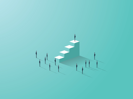 Business success concept with businessman standing on top of stairs, tiny businessmen around. Eps10 vector illustration.