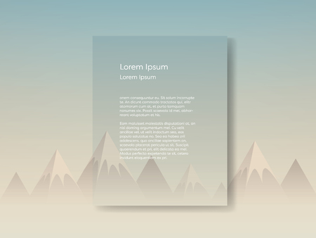 morning sunrise: Low poly mountain landscape scene in morning sunrise haze with blank space for text. Eps10 vector illustration. Illustration