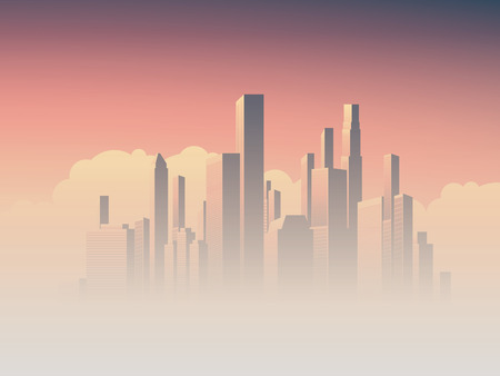 pink sky: Corporate skyline with high rise skyscrapers in morning sunrise haze with pink and purple sky background. Business cityscape vector symbol of success. Eps10 vector illustration.