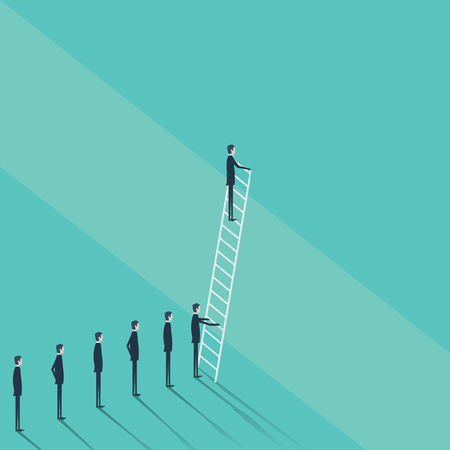 problem solution: Business concept of challenge, problem solution. Businessman vector symbol climbing on corporate ladder. Eps10 vector illustration.