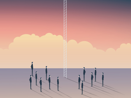 corporate ladder: Business and career opportunities, corporate ladder. Businessmen standing to climb above clouds, sky is the limit. Eps10 vector illustration.