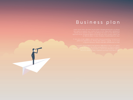 Businessman on a paper plane as a symbol of business leadership, vision, strategy, plan. Eps10 vector illustration. Illustration