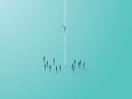 Concepto de la visión del negocio con el símbolo del vector del hombre de negocios que se coloca en una escala que mira a través de monocular. Resumen de estrategia y planificación. Eps10 ilustración vectorial.