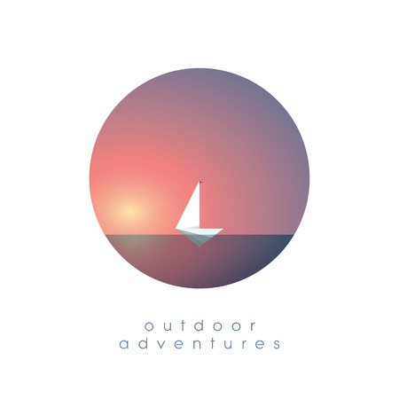 Yacht on the ocean in simple minimalistic polygonal style vector illustration. Summer vacation, holiday, escape symbol of traveling and adventure. Eps10 vector illustration.