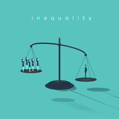 Business corporate inequality concept with businessman and businesswoman on scales. Gender male versus female unequal opportunities. Eps10 vector illustration.