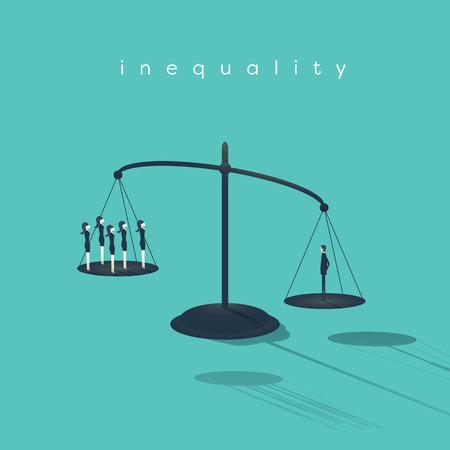 Concepto de la desigualdad corporativa del asunto con el hombre de negocios y la empresaria en escalas. Género hombres y mujeres oportunidades desiguales. Eps10 ilustración vectorial.