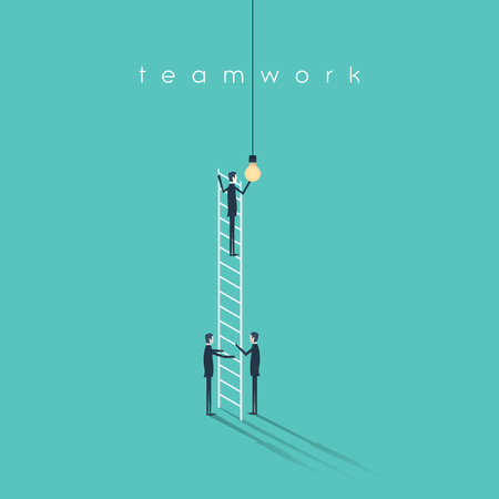 teamwork concept: Business teamwork concept with businessmen changing lightbulb. Success, creativity and cooperation vector symbol. Eps10 vector illustration. Illustration