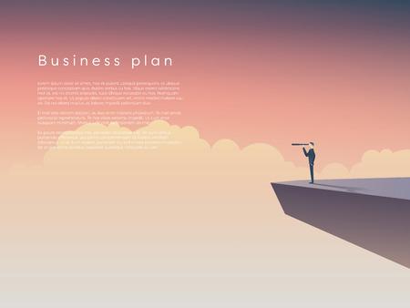 Geschäftsmann, der auf einer Klippe über Wolken mit Monokularem steht. Geschäftskonzept der Führung, Unternehmensplan mit Platz für Ihren Text. Eps10-Vektor-Illustration. Vektorgrafik