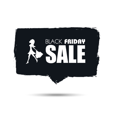 sexy black woman: Black Friday sale banner with sexy woman shopping for fashion designer clothes and dress. Hand painted watercolor eps10 vector illustration.