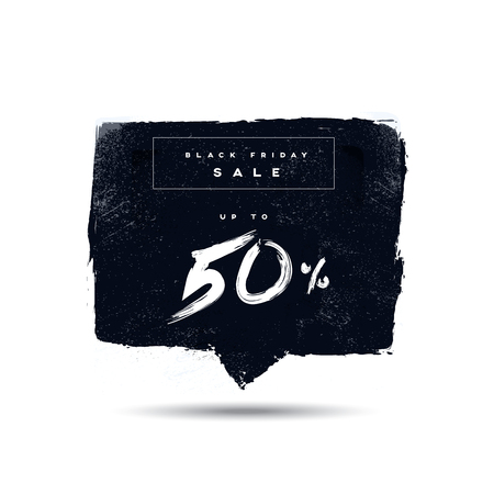 shopping malls: Black Friday sale banner with handwritten discount. Hand painted watercolor vector. Eps10 vector illustration.