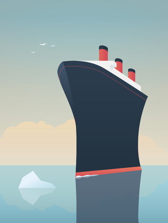 fearless: Risky adventure exploration business concept. Fearless explorer ship and icebergs in sea. Eps10 vector illustration.