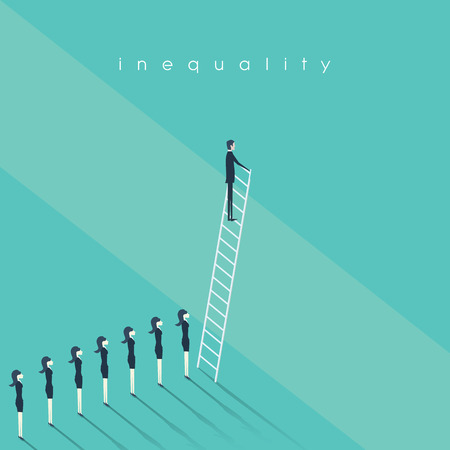 Business inequality concept vector background. Man standing on a ladder and women behind him. Eps10 vector illustration.