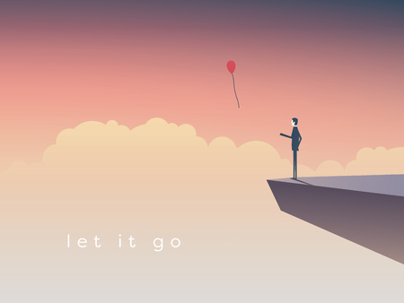 Businessman standing on a cliff letting go a balloon. Eps10 vector illustration. Vettoriali