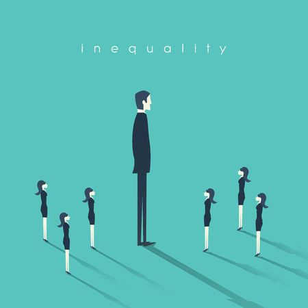 inequality: Business gender inequality concept with businessman and businesswoman symbol. Eps10 vector illustration.
