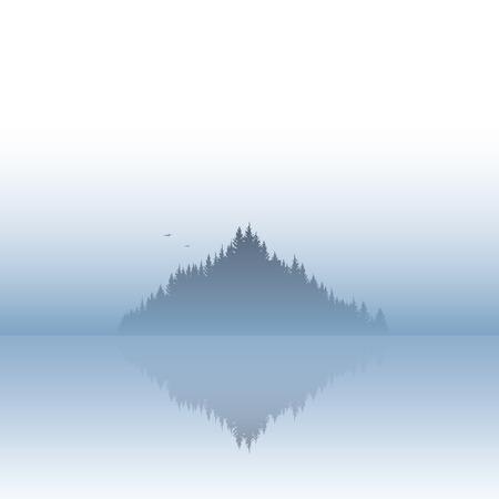 serene landscape: Island landscape vector illustration with fog or mist atmosphere. Calm, serene, tranquil nature scenery. Eps10 vector illustration.