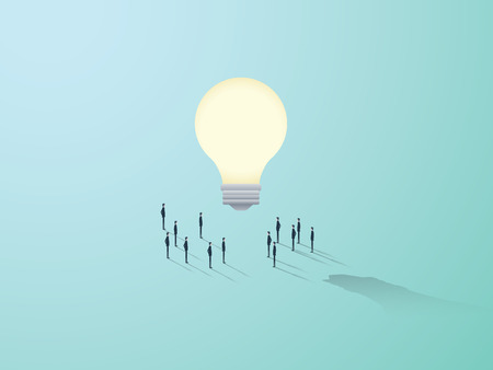 creativity symbol: Business creativity vector concept with big light bulb and people standing around. Teamwork brainstorming symbol. Eps10 vector illustration. Illustration