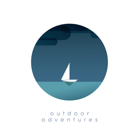 adventure holiday: Yacht on the ocean in simple minimalistic polygonal style vector illustration. Summer vacation, holiday, escape symbol of traveling and adventure. Eps10 vector illustration.