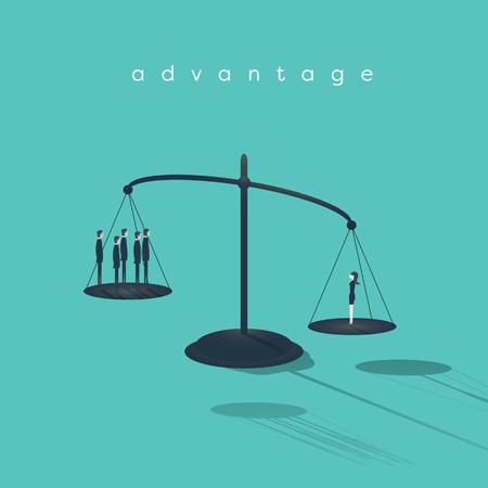 l'émancipation de la femme d'affaires. Les hommes d'affaires et femme d'affaires debout sur des échelles - les questions de genre au travail. illustration vectorielle Eps10.
