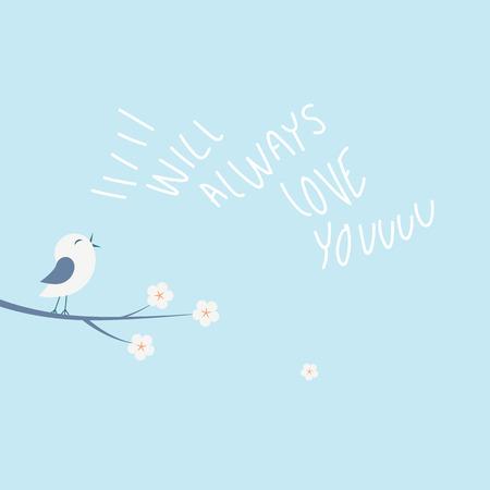 San Valentín tarjeta de amor concepto de ilustración vectorial con poco canto de un pájaro. Manuscrito Siempre te amaré mensaje.