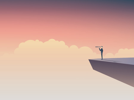 Business vision or visionary concept with businessman standing on a cliff, looking through monocular into the future. Illustration