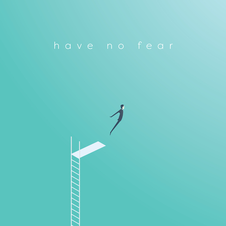 Business concept of courage, challenge, risk taking with businessman vector illustration jumping.