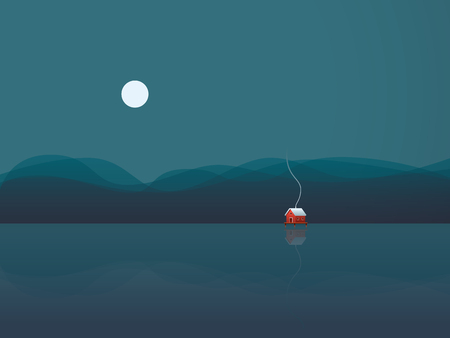 freedom concept: Lake house vector illustration background with cabin on water at night under moon. Concept of freedom, solitude, calm, relaxing holiday or vacation. Stock Photo
