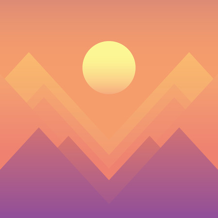 Sunset landscape vector: Abstract mountain landscape sunset or sunrise vector with modern retro feel in haze colors of pink, purple, orange.