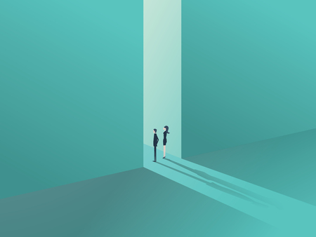 corporate people: Business people standing in a gate or door as a symbol of business opportunity or career progress. Corporate metaphor for growth and success.