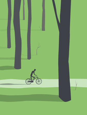 relax: Man cycling through forest vector. Healthy active outdoor lifestyle for relax and recreation.
