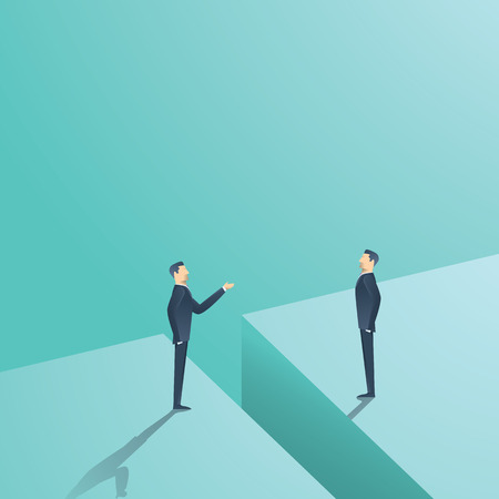 Business negotiation or communication vector concept. Two man having discussion, bargaining with gap between. Eps10 vector illustration.