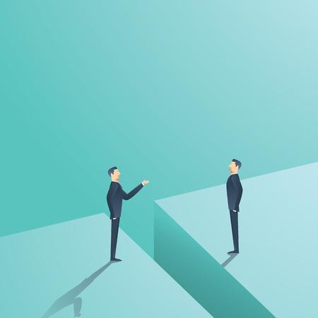 Trattativa d'affari o concetto di comunicazione vettore. Due uomo che ha discussione, la contrattazione con spazio tra. illustrazione vettoriale eps10. Archivio Fotografico - 70936101