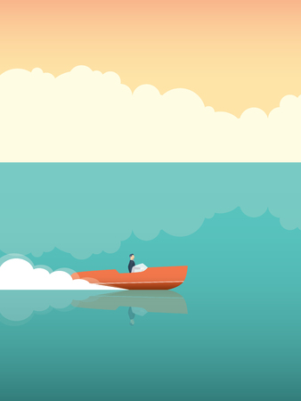 Elegant and rich man riding fast speedboat on the ocean. Vector concept for summer holiday or vacation.