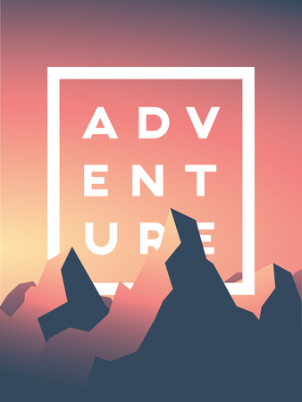 mountain sunset: Mountain adventure vector illustration with high peaks in sunset or sunrise. Nature landscape concept for traveling, climbing, extreme sports promotion Stock Photo