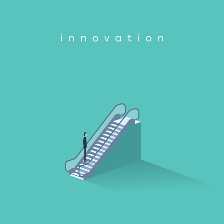 Businessman on an escalator moving up. Symbol of business innovation, technology progress and creativity. Illustration