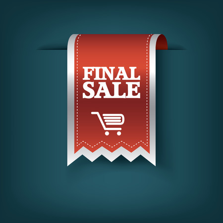 red ribbon week: Final sale red ribbon vector tag icon for product promotion and shopping. Bookmark 3d design with realistic shadows. Illustration
